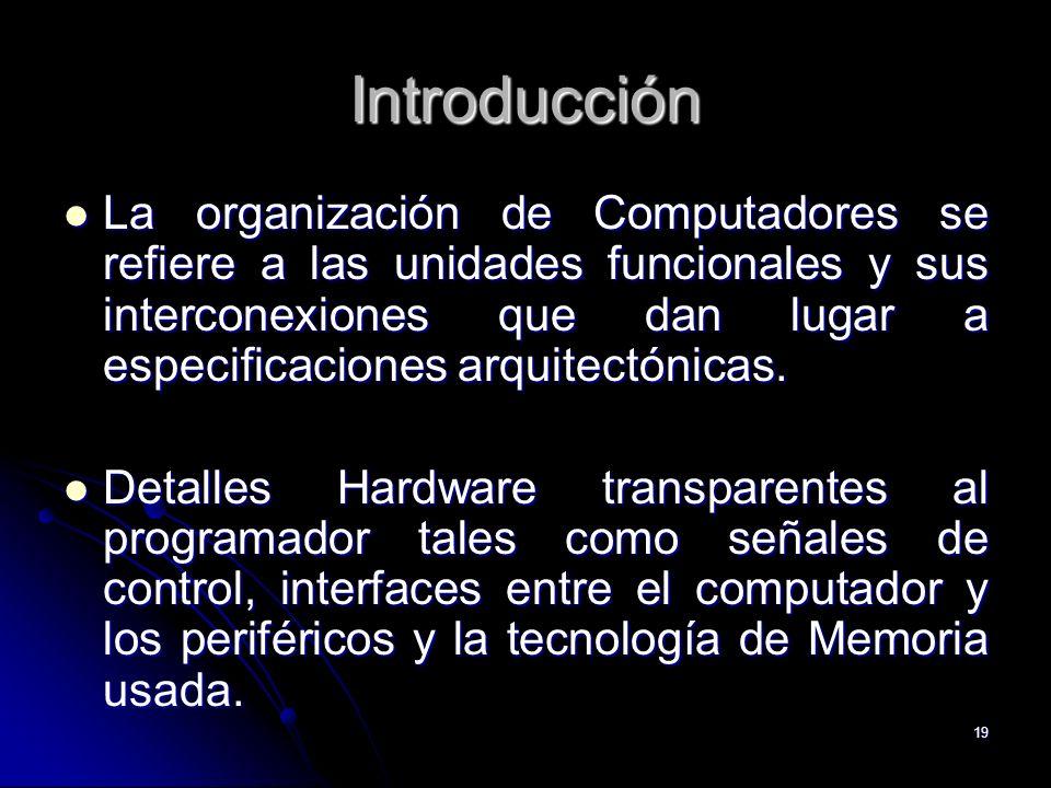 19 Introducción La organización de Computadores se refiere a las unidades funcionales y sus interconexiones que dan lugar a especificaciones arquitect