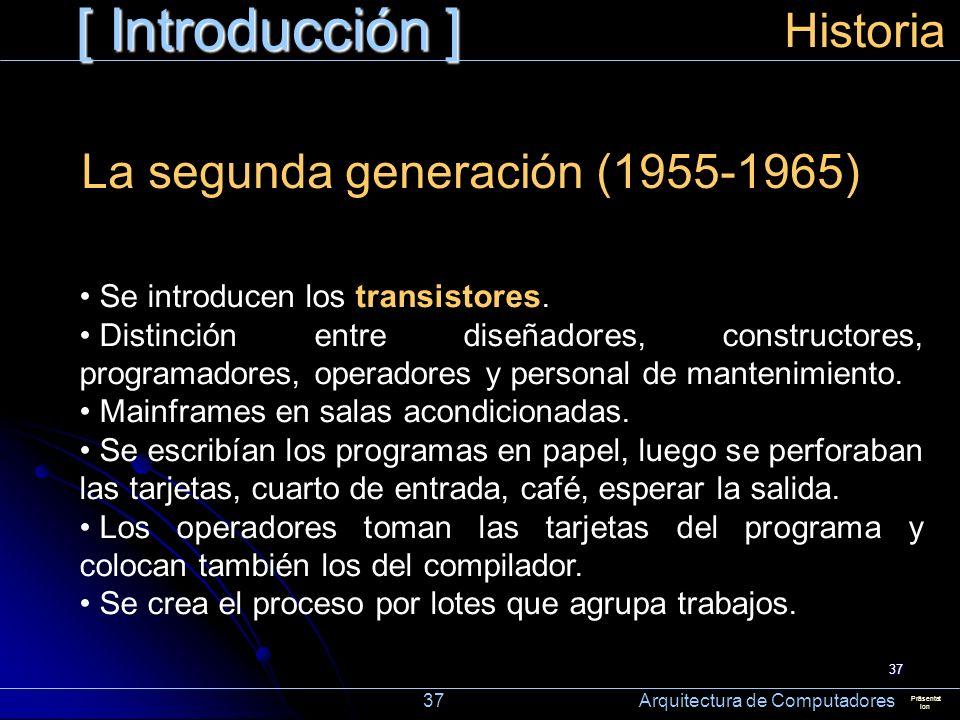 37 [ Introducción ] Präsentat ion Historia La segunda generación (1955-1965) Se introducen los transistores. Distinción entre diseñadores, constructor
