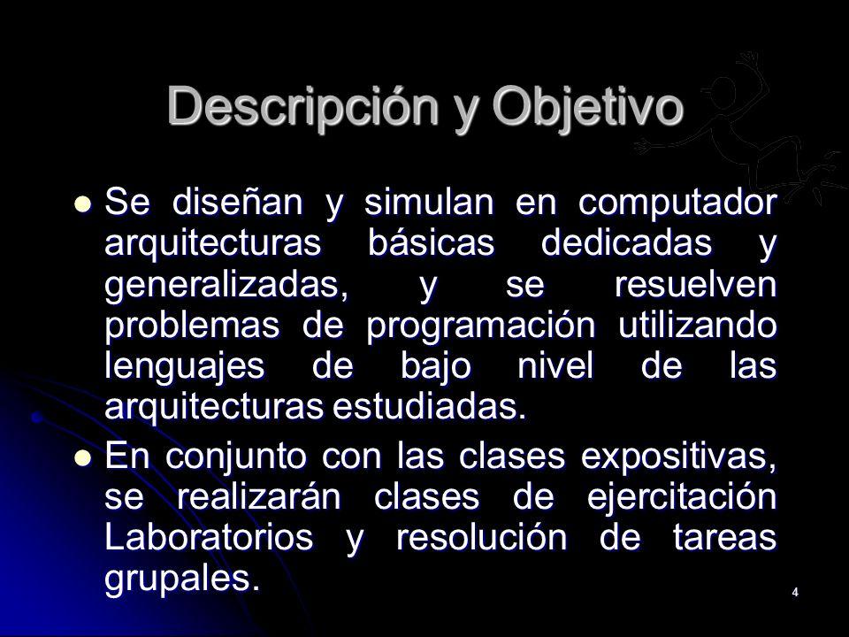 4 Descripción y Objetivo Se diseñan y simulan en computador arquitecturas básicas dedicadas y generalizadas, y se resuelven problemas de programación