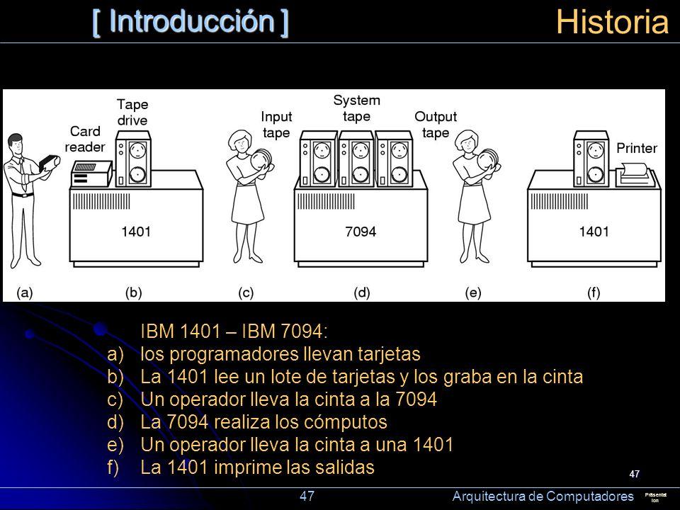 47 [ Introducción ] Präsentat ion Historia IBM 1401 – IBM 7094: a)los programadores llevan tarjetas b)La 1401 lee un lote de tarjetas y los graba en l