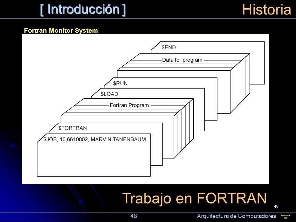 48 [ Introducción ] Präsentat ion Historia Trabajo en FORTRAN Fortran Monitor System 48 Arquitectura de Computadores
