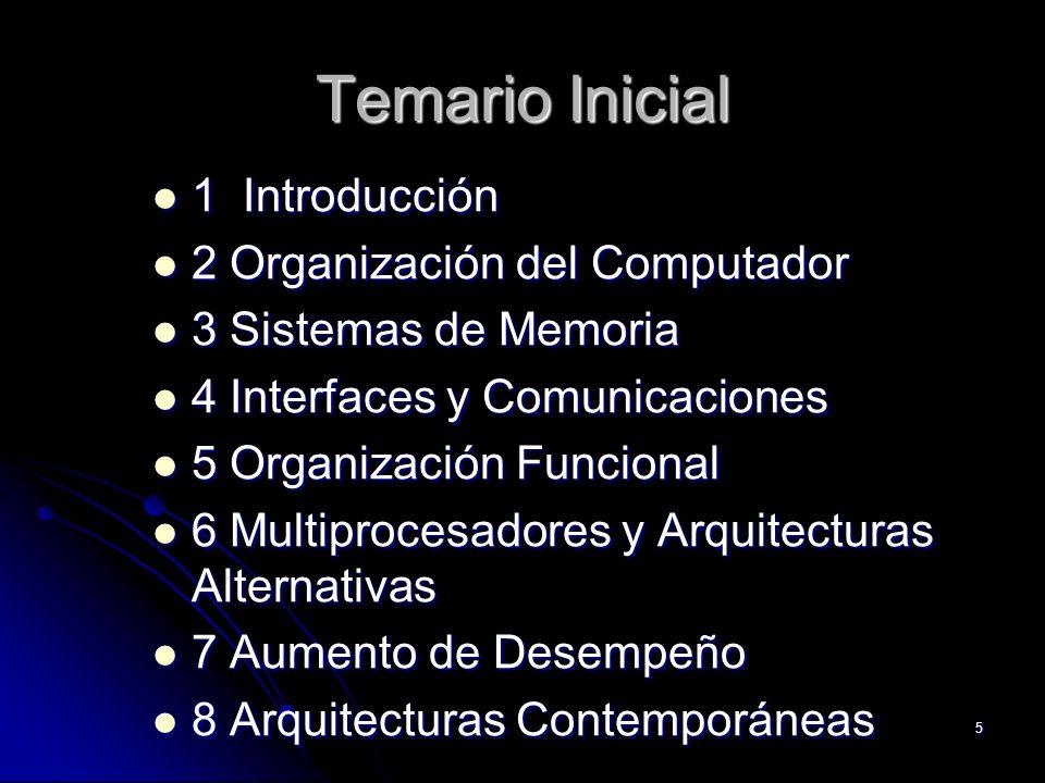 5 Temario Inicial 1 Introducción 1 Introducción 2 Organización del Computador 2 Organización del Computador 3 Sistemas de Memoria 3 Sistemas de Memori