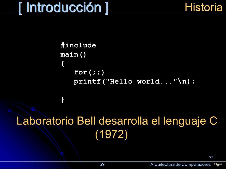 59 [ Introducción ] Präsentat ion Historia Laboratorio Bell desarrolla el lenguaje C (1972) 59 Arquitectura de Computadores #include main() { for(;;)