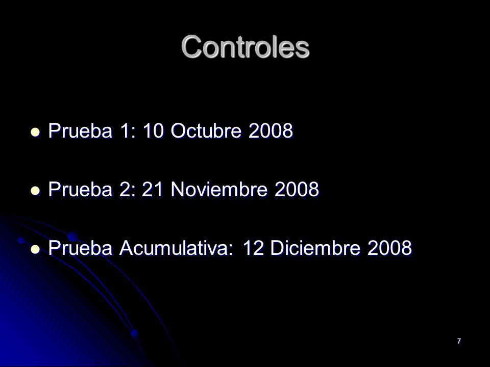 7 Controles Prueba 1: 10 Octubre 2008 Prueba 1: 10 Octubre 2008 Prueba 2: 21 Noviembre 2008 Prueba 2: 21 Noviembre 2008 Prueba Acumulativa: 12 Diciemb