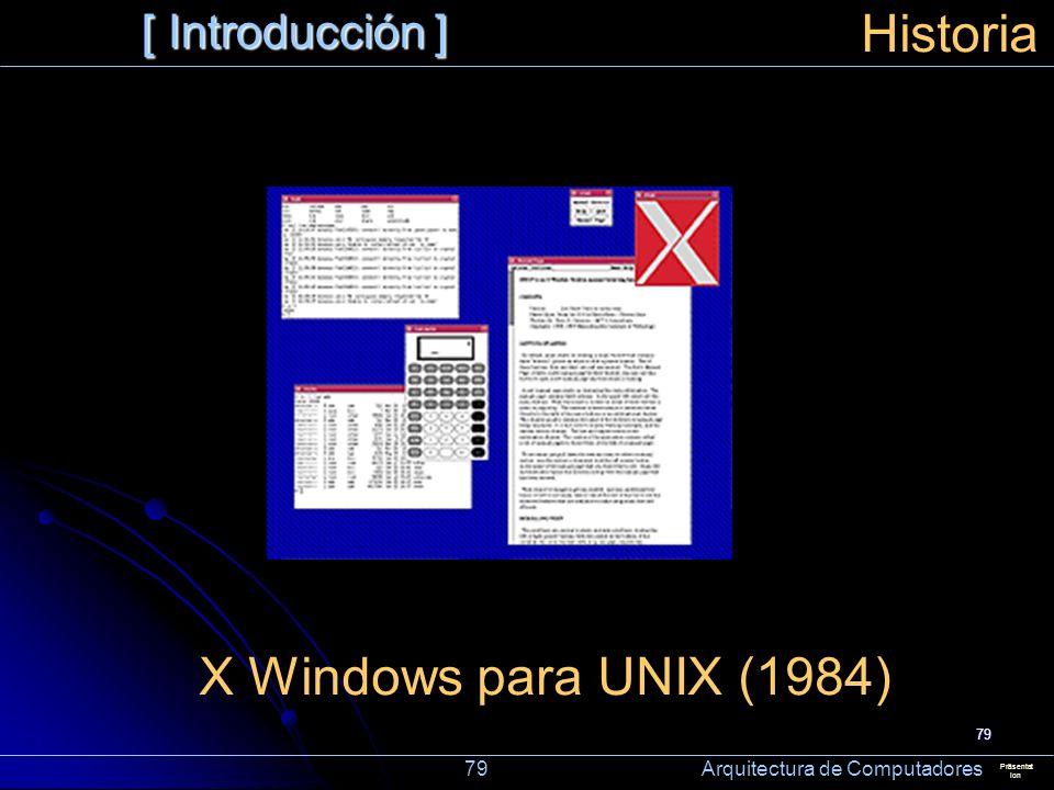 79 [ Introducción ] Präsentat ion Historia X Windows para UNIX (1984) 79 Arquitectura de Computadores
