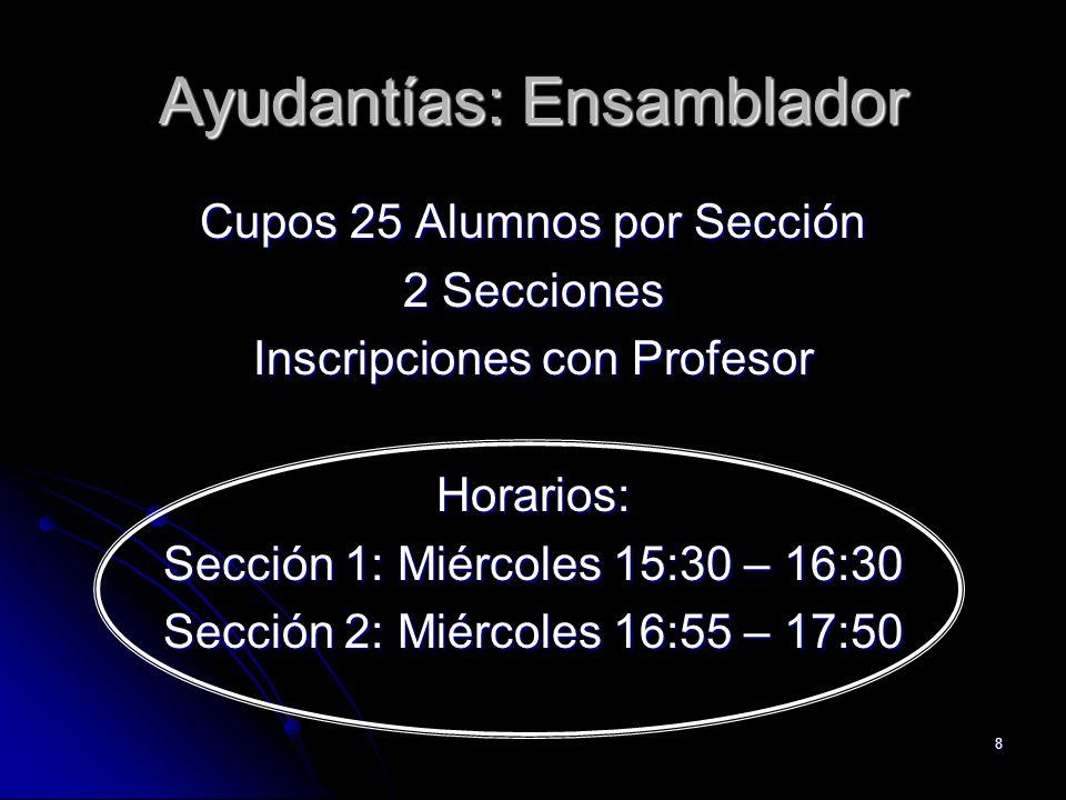 8 Ayudantías: Ensamblador Cupos 25 Alumnos por Sección 2 Secciones Inscripciones con Profesor Horarios: Sección 1: Miércoles 15:30 – 16:30 Sección 2:
