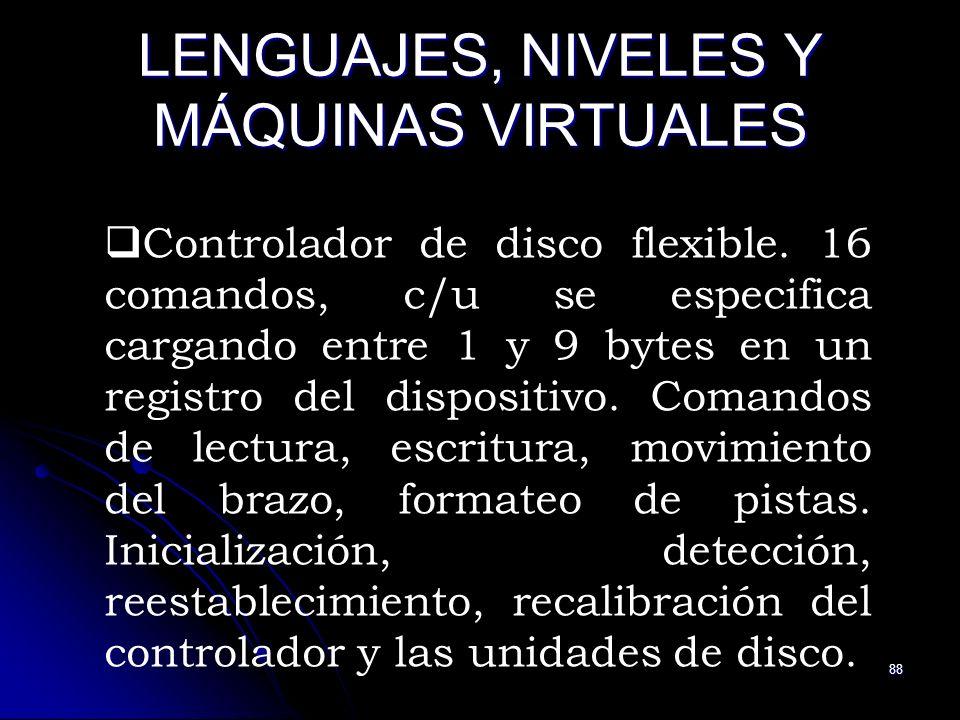 88 LENGUAJES, NIVELES Y MÁQUINAS VIRTUALES Controlador de disco flexible. 16 comandos, c/u se especifica cargando entre 1 y 9 bytes en un registro del