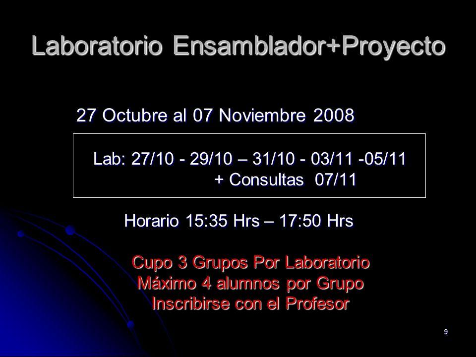 9 Laboratorio Ensamblador+Proyecto 27 Octubre al 07 Noviembre 2008 Lab: 27/10 - 29/10 – 31/10 - 03/11 -05/11 + Consultas 07/11 Horario 15:35 Hrs – 17: