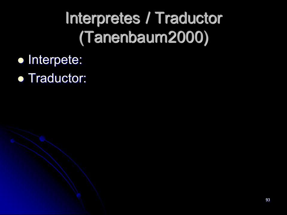 93 Interpretes / Traductor (Tanenbaum2000) Interpete: Interpete: Traductor: Traductor: