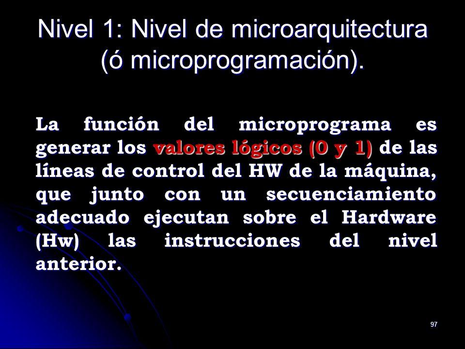 97 Nivel 1: Nivel de microarquitectura (ó microprogramación). La función del microprograma es generar los valores lógicos (0 y 1) de las líneas de con