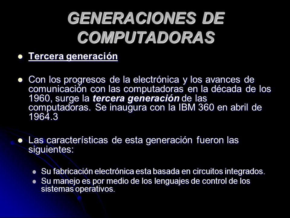 GENERACIONES DE COMPUTADORAS Tercera generación Tercera generación Con los progresos de la electrónica y los avances de comunicación con las computadoras en la década de los 1960, surge la tercera generación de las computadoras.