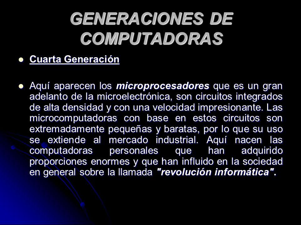 GENERACIONES DE COMPUTADORAS Cuarta Generación Cuarta Generación Aquí aparecen los microprocesadores que es un gran adelanto de la microelectrónica, son circuitos integrados de alta densidad y con una velocidad impresionante.