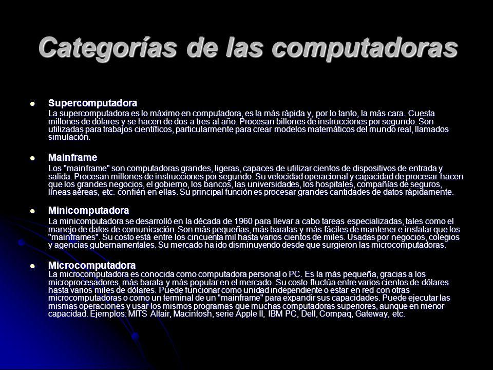 Categorías de las computadoras Supercomputadora Supercomputadora La supercomputadora es lo máximo en computadora, es la más rápida y, por lo tanto, la más cara.