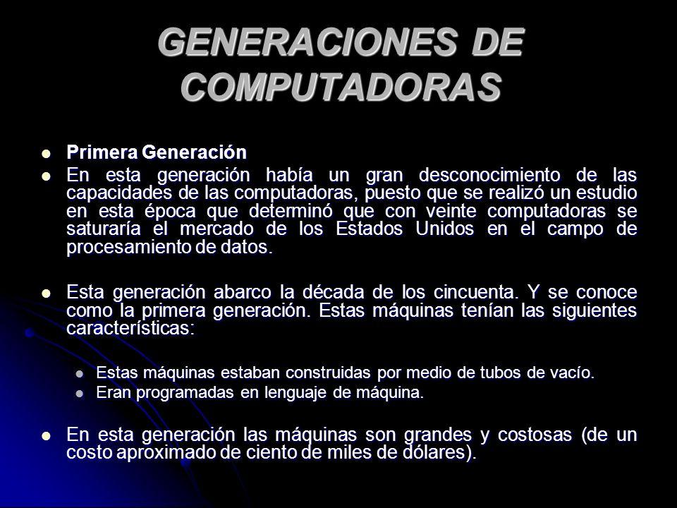 GENERACIONES DE COMPUTADORAS Primera Generación Primera Generación En esta generación había un gran desconocimiento de las capacidades de las computadoras, puesto que se realizó un estudio en esta época que determinó que con veinte computadoras se saturaría el mercado de los Estados Unidos en el campo de procesamiento de datos.