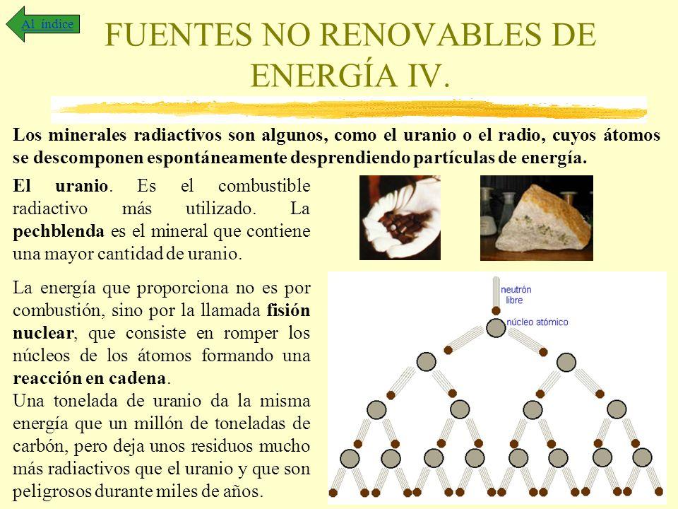 FUENTES NO RENOVABLES DE ENERGÍA IV. Al índice Los minerales radiactivos son algunos, como el uranio o el radio, cuyos átomos se descomponen espontáne