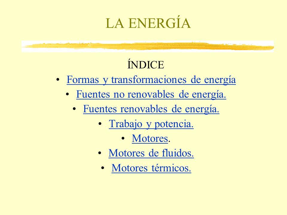 LA ENERGÍA ÍNDICE Formas y transformaciones de energía Fuentes no renovables de energía. Fuentes renovables de energía. Trabajo y potencia. Motores.Mo