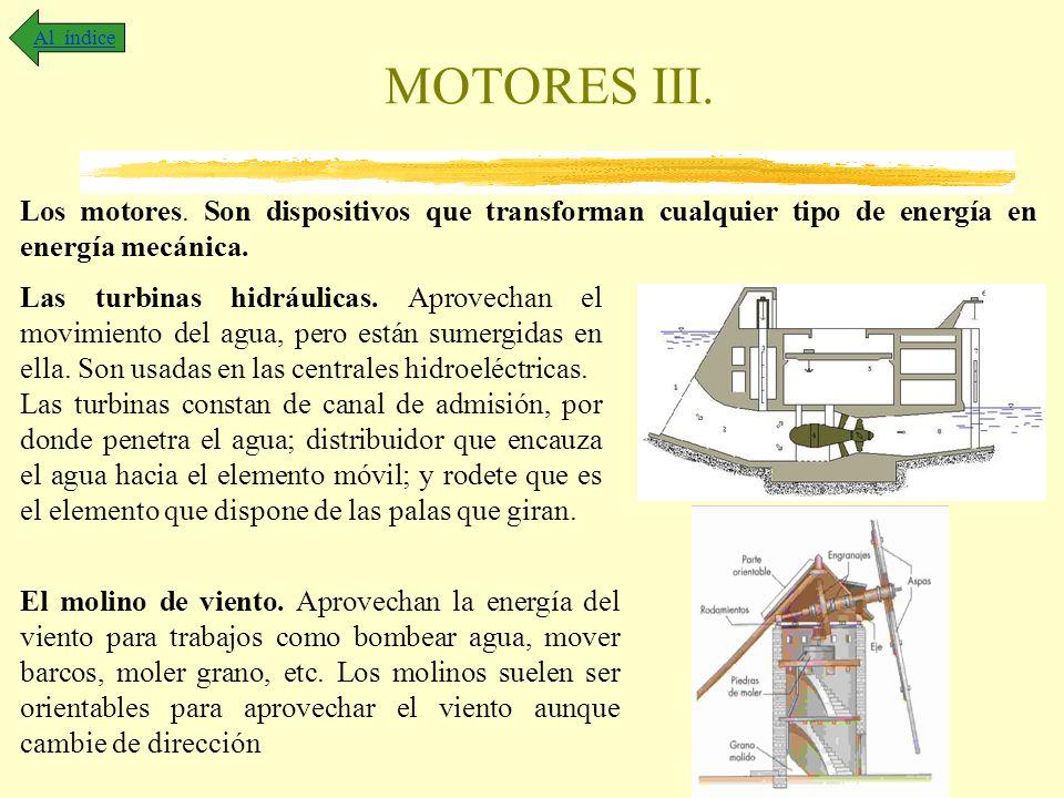 MOTORES III. Al índice Los motores. Son dispositivos que transforman cualquier tipo de energía en energía mecánica. Las turbinas hidráulicas. Aprovech