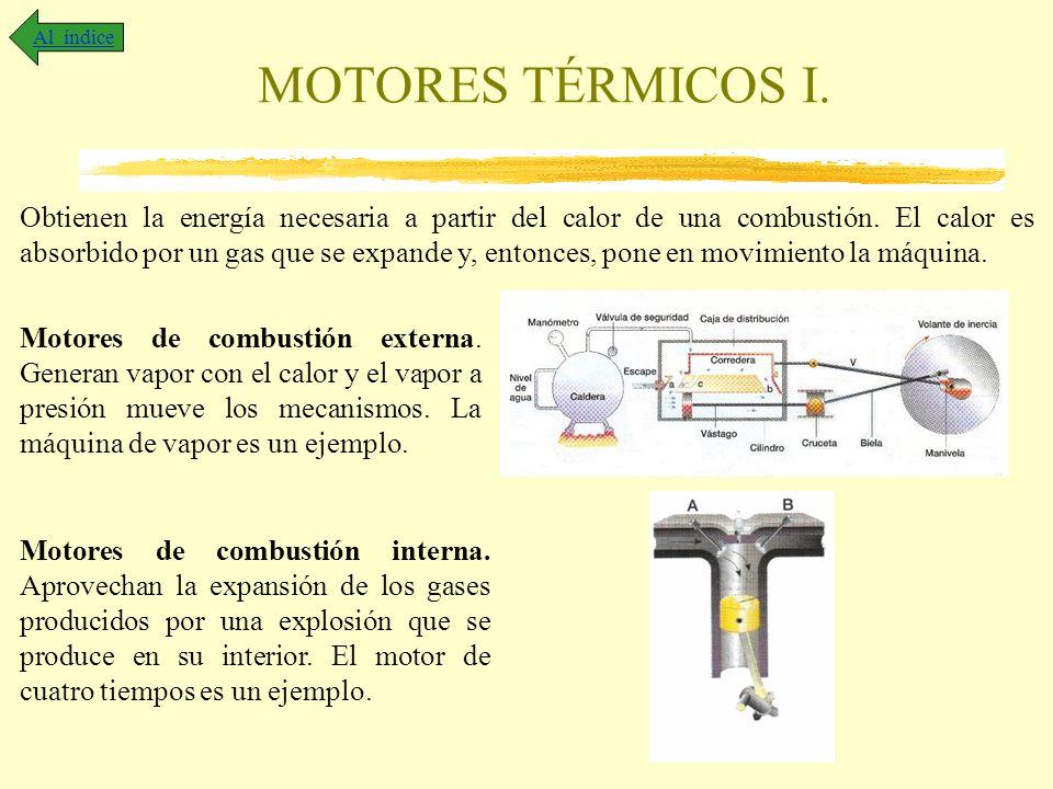 MOTORES TÉRMICOS I. Al índice Obtienen la energía necesaria a partir del calor de una combustión. El calor es absorbido por un gas que se expande y, e