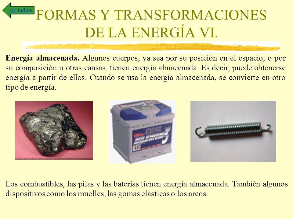 FORMAS Y TRANSFORMACIONES DE LA ENERGÍA VI. Al índice Energía almacenada. Algunos cuerpos, ya sea por su posición en el espacio, o por su composición
