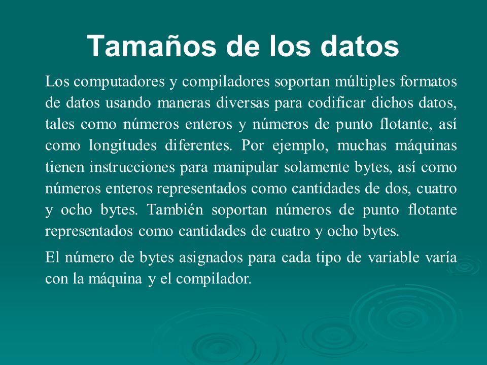 Tamaños de los datos Los computadores y compiladores soportan múltiples formatos de datos usando maneras diversas para codificar dichos datos, tales como números enteros y números de punto flotante, así como longitudes diferentes.