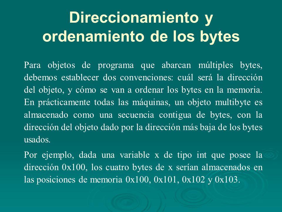 Direccionamiento y ordenamiento de los bytes Para objetos de programa que abarcan múltiples bytes, debemos establecer dos convenciones: cuál será la dirección del objeto, y cómo se van a ordenar los bytes en la memoria.