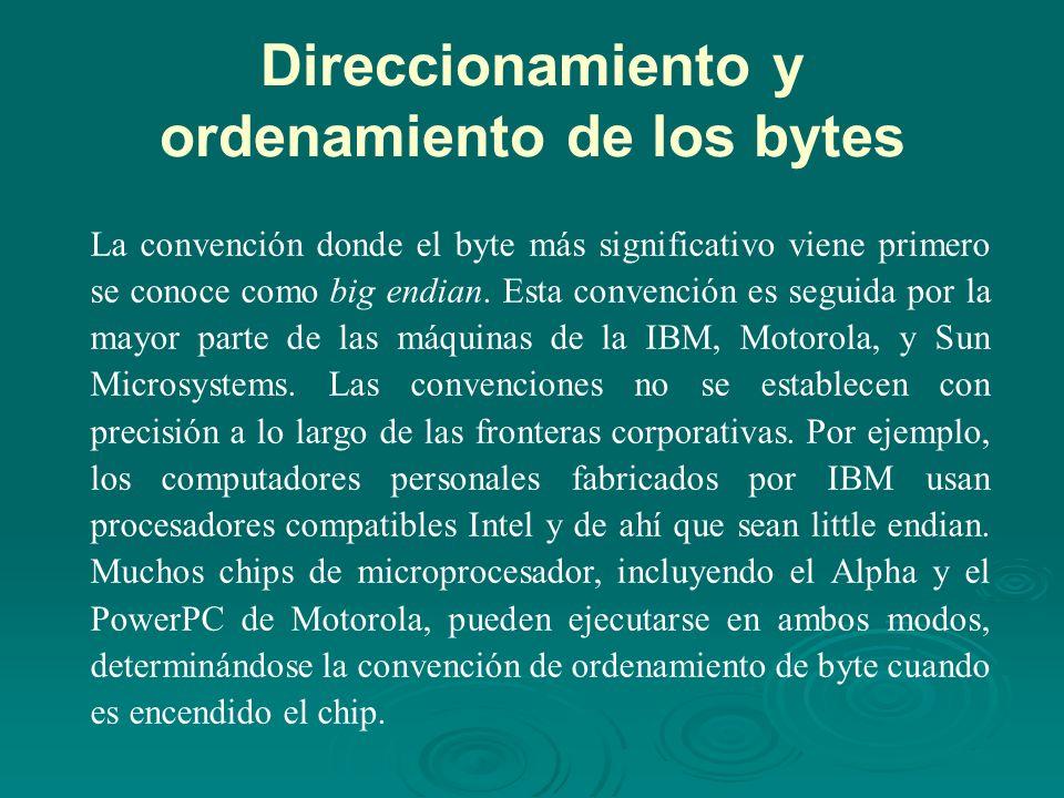 Direccionamiento y ordenamiento de los bytes La convención donde el byte más significativo viene primero se conoce como big endian.