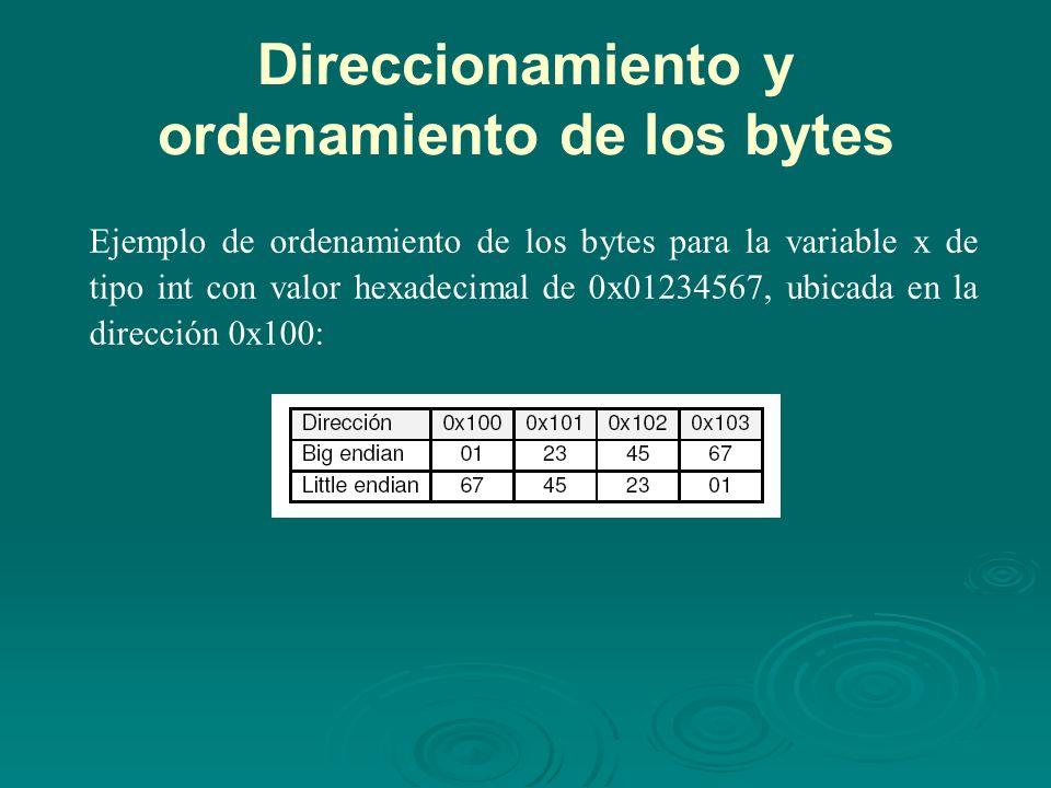Direccionamiento y ordenamiento de los bytes Ejemplo de ordenamiento de los bytes para la variable x de tipo int con valor hexadecimal de 0x01234567, ubicada en la dirección 0x100: