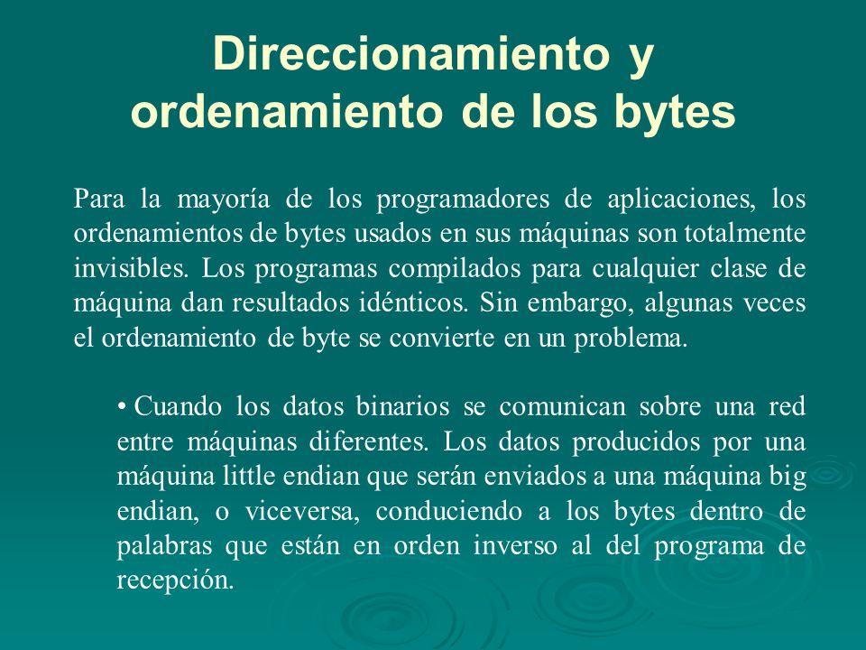Direccionamiento y ordenamiento de los bytes Para la mayoría de los programadores de aplicaciones, los ordenamientos de bytes usados en sus máquinas son totalmente invisibles.
