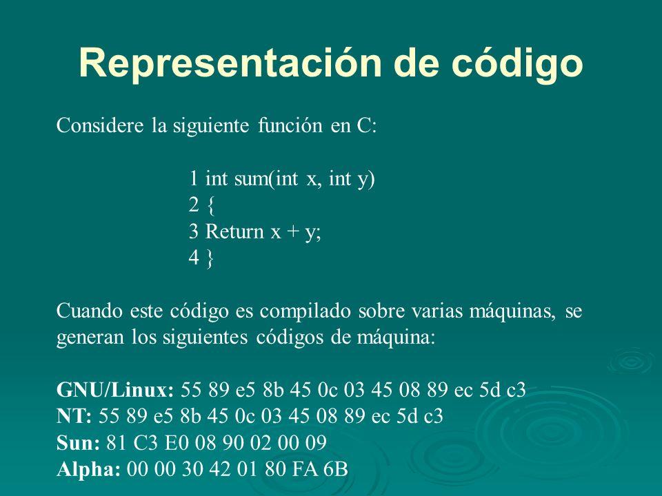 Representación de código Considere la siguiente función en C: 1 int sum(int x, int y) 2 { 3 Return x + y; 4 } Cuando este código es compilado sobre varias máquinas, se generan los siguientes códigos de máquina: GNU/Linux: 55 89 e5 8b 45 0c 03 45 08 89 ec 5d c3 NT: 55 89 e5 8b 45 0c 03 45 08 89 ec 5d c3 Sun: 81 C3 E0 08 90 02 00 09 Alpha: 00 00 30 42 01 80 FA 6B