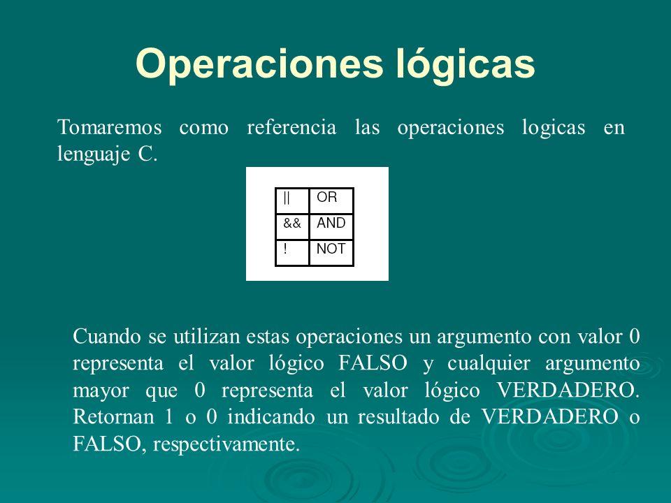 Operaciones lógicas Tomaremos como referencia las operaciones logicas en lenguaje C.