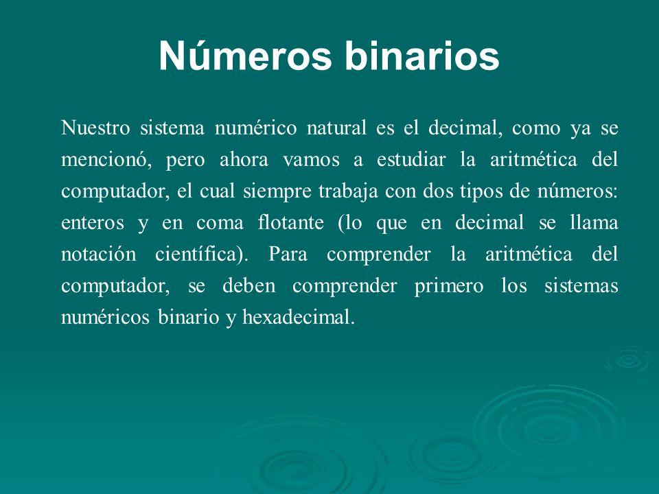 Números binarios Nuestro sistema numérico natural es el decimal, como ya se mencionó, pero ahora vamos a estudiar la aritmética del computador, el cual siempre trabaja con dos tipos de números: enteros y en coma flotante (lo que en decimal se llama notación científica).