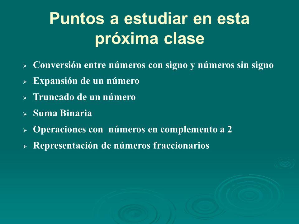 Puntos a estudiar en esta próxima clase Conversión entre números con signo y números sin signo Expansión de un número Truncado de un número Suma Binaria Operaciones con números en complemento a 2 Representación de números fraccionarios