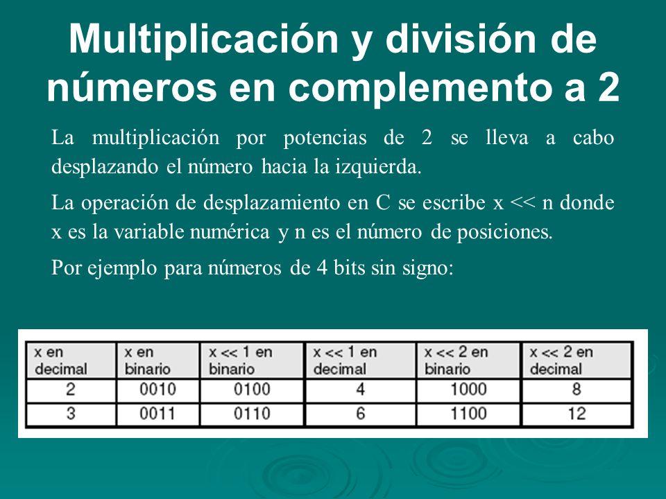 Multiplicación y división de números en complemento a 2 La multiplicación por potencias de 2 se lleva a cabo desplazando el número hacia la izquierda.