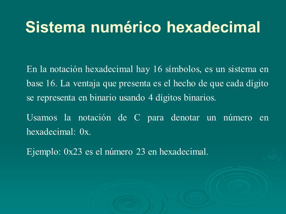 Sistema numérico hexadecimal En la notación hexadecimal hay 16 símbolos, es un sistema en base 16.