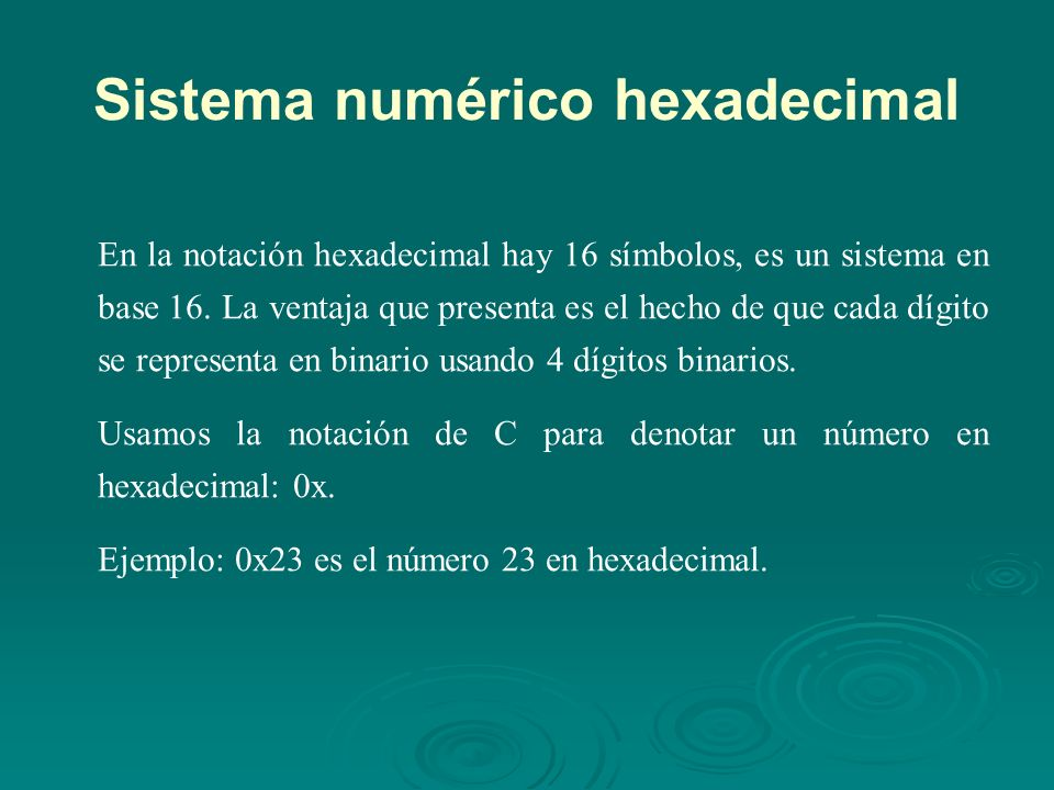 Sistema numérico hexadecimal BinarioDecimalHexadecimal 000000 000111 001022 001133 010044 010155 011066 011177 100088 100199 101010A 101111B 110012C 110113D 111014E 111115F