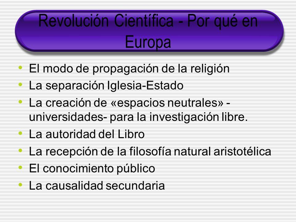 Revolución Científica - Por qué en Europa El modo de propagación de la religión La separación Iglesia-Estado La creación de «espacios neutrales» - universidades- para la investigación libre.