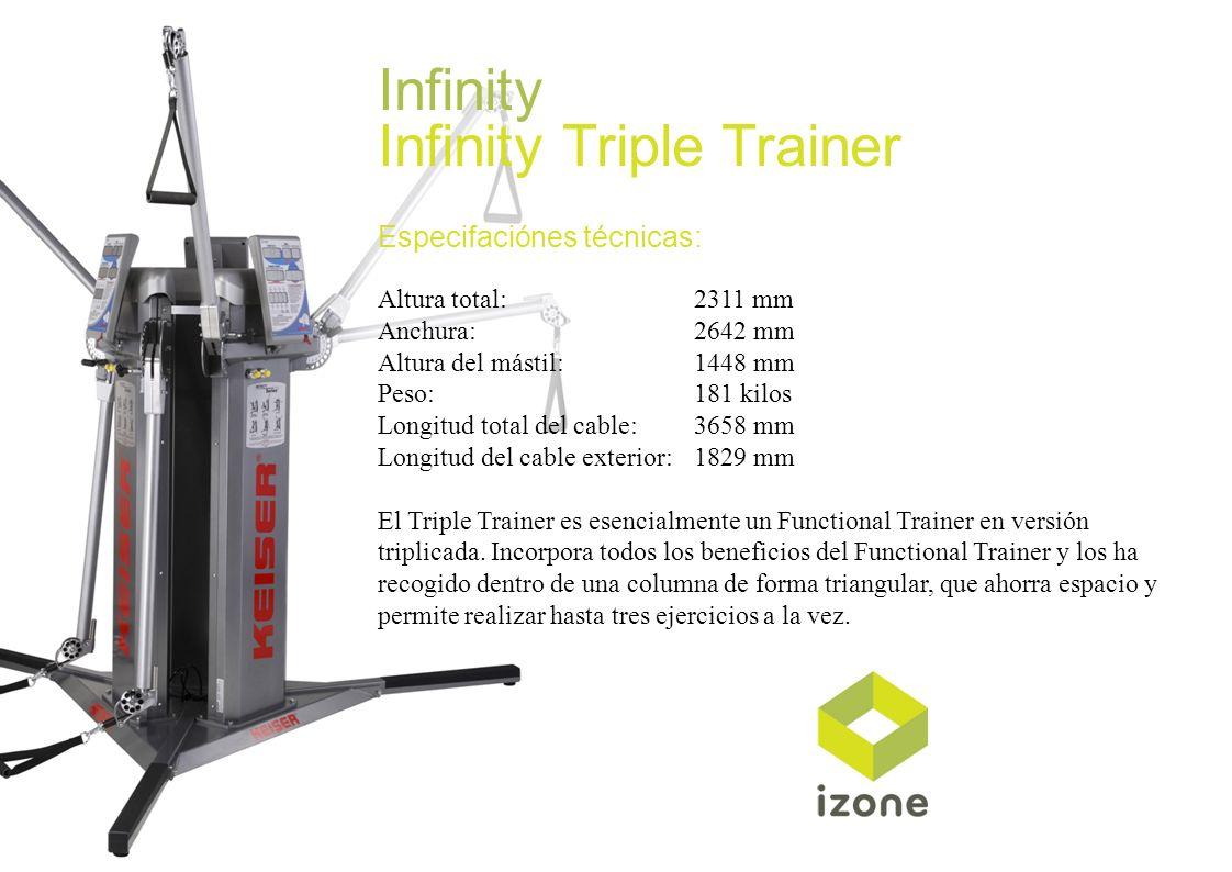 Infinity Infinity Triple Trainer Especifaciónes técnicas: Altura total: 2311 mm Anchura:2642 mm Altura del mástil:1448 mm Peso:181 kilos Longitud tota
