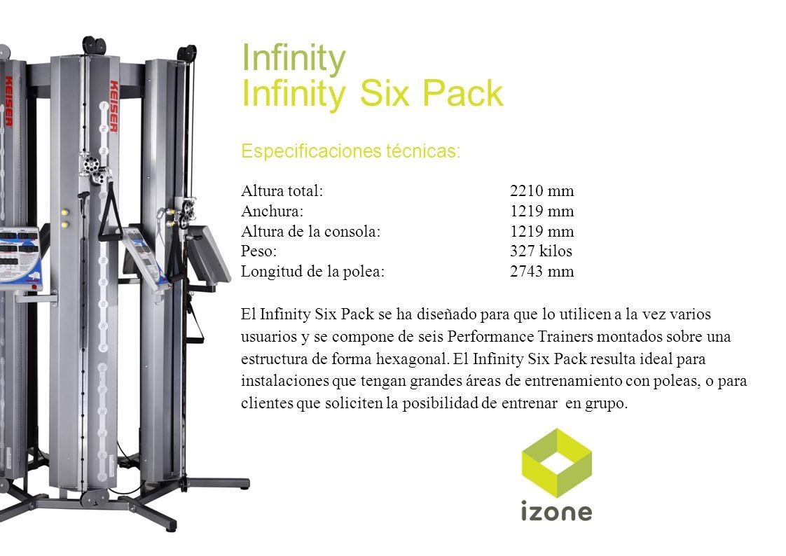 Infinity Infinity Six Pack Especificaciones técnicas: Altura total:2210 mm Anchura:1219 mm Altura de la consola:1219 mm Peso:327 kilos Longitud de la