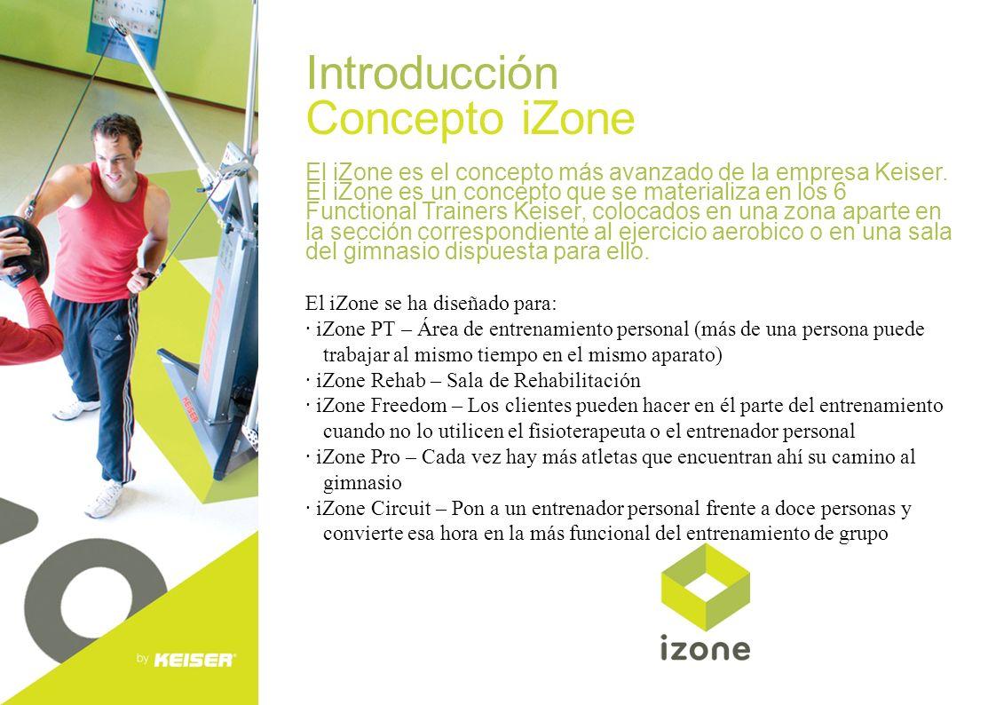 Introducción Concepto iZone El iZone es el concepto más avanzado de la empresa Keiser. El iZone es un concepto que se materializa en los 6 Functional