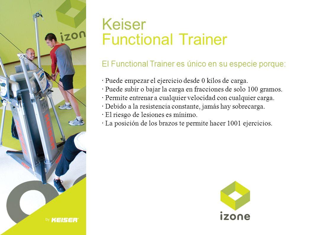 Keiser Functional Trainer El Functional Trainer es único en su especie porque: · Puede empezar el ejercicio desde 0 kilos de carga. · Puede subir o ba