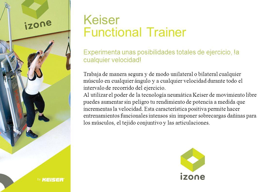 Keiser Functional Trainer Experimenta unas posibilidades totales de ejercicio, !a cualquier velocidad! Trabaja de manera segura y de modo unilateral o
