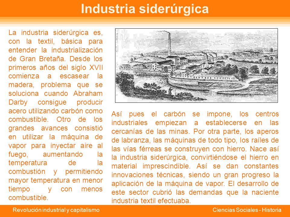 Revolución industrial y capitalismo Ciencias Sociales - Historia La industria del algodón El primer paso en la transformación del sector textil inglés fue el cambio de materia prima de la lana al algodón.
