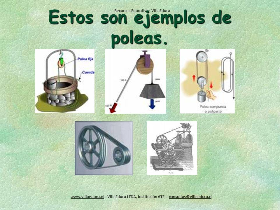 Recursos Educativos VillaEduca www.villaeduca.cl – VillaEduca LTDA, Institución ATE – consultas@villaeduca.cl LA POLEA Una polea es simplemente una ru