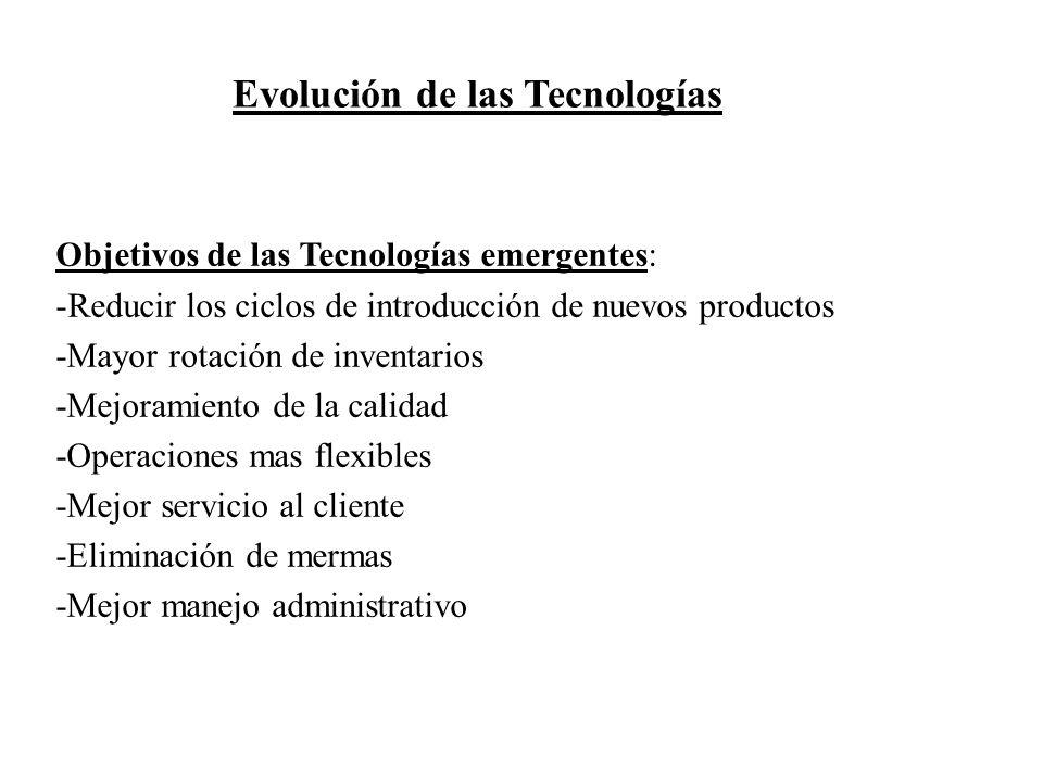 Objetivos de las Tecnologías emergentes: -Reducir los ciclos de introducción de nuevos productos -Mayor rotación de inventarios -Mejoramiento de la ca