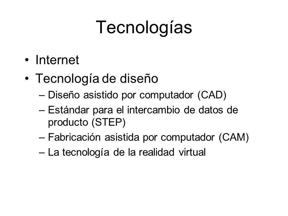 Tecnologías Internet Tecnología de diseño –Diseño asistido por computador (CAD) –Estándar para el intercambio de datos de producto (STEP) –Fabricación