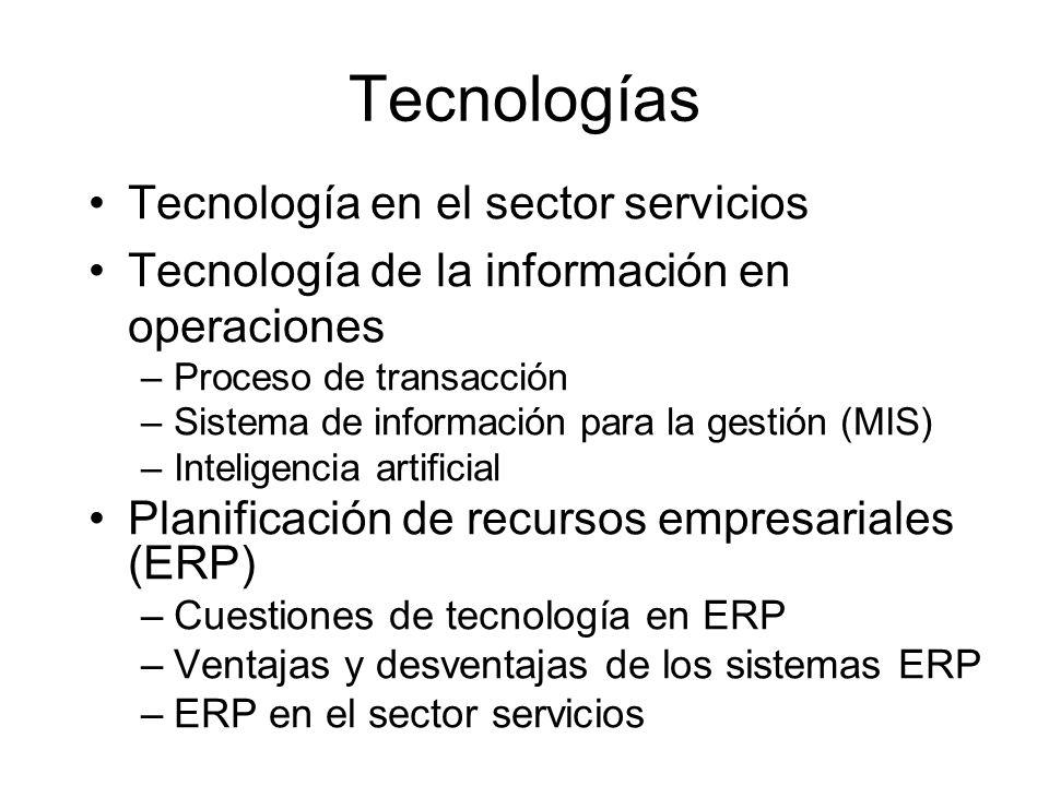 Tecnologías Tecnología en el sector servicios Tecnología de la información en operaciones –Proceso de transacción –Sistema de información para la gest