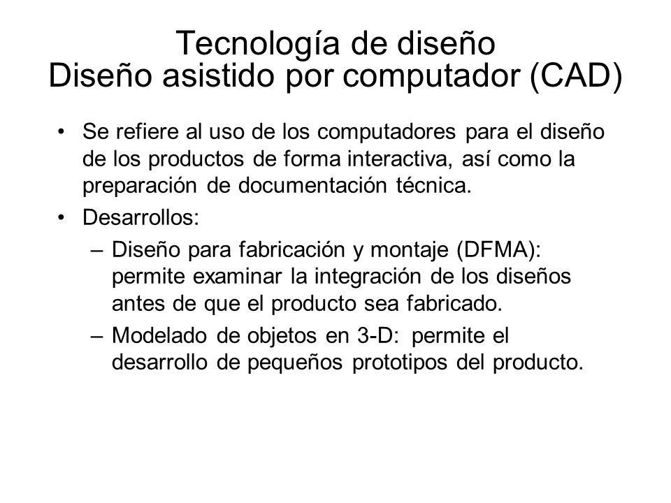 Tecnología de diseño Diseño asistido por computador (CAD) Se refiere al uso de los computadores para el diseño de los productos de forma interactiva,
