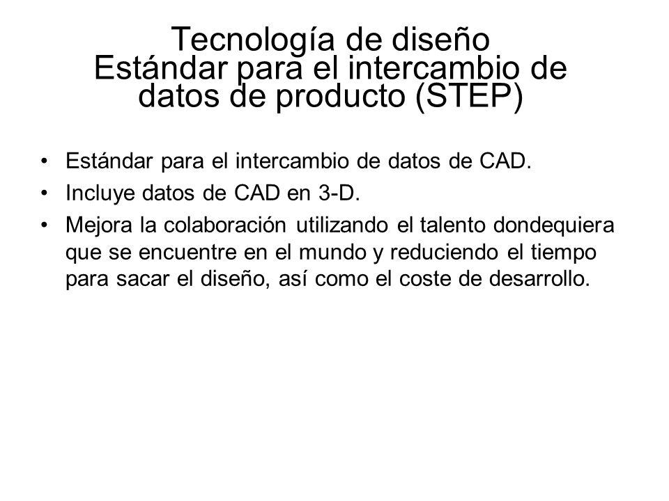 Tecnología de diseño Estándar para el intercambio de datos de producto (STEP) Estándar para el intercambio de datos de CAD. Incluye datos de CAD en 3-
