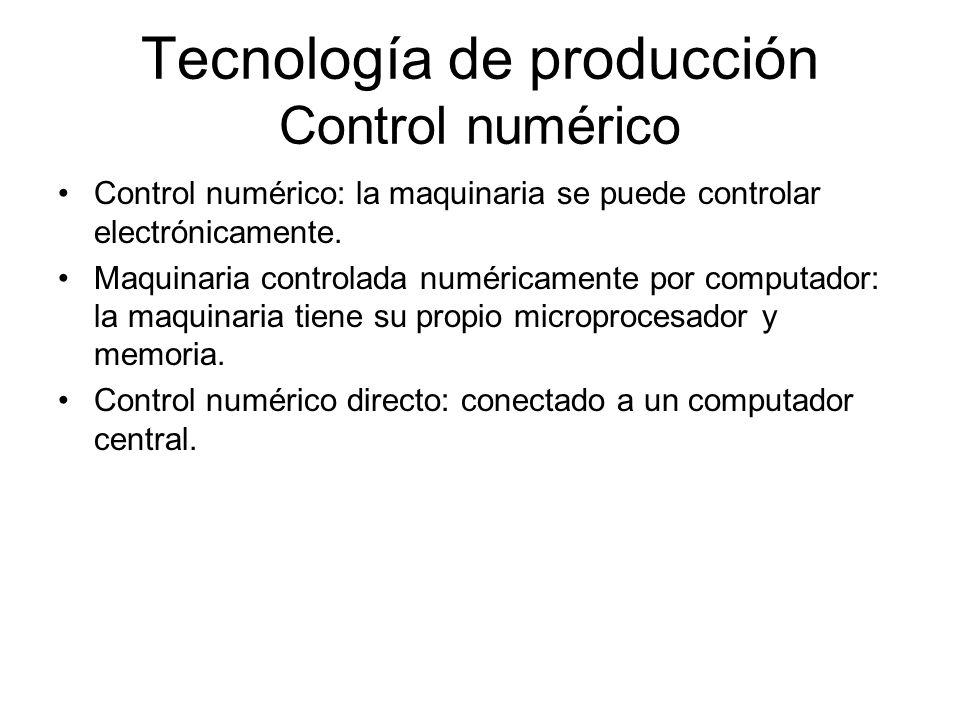 Tecnología de producción Control numérico Control numérico: la maquinaria se puede controlar electrónicamente. Maquinaria controlada numéricamente por