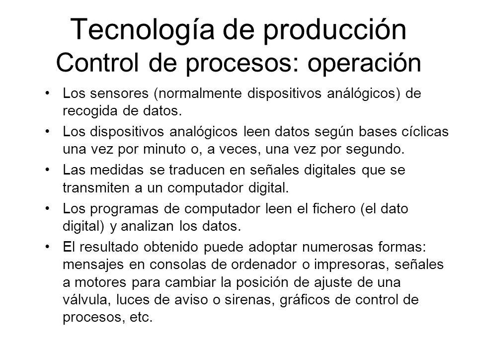 Tecnología de producción Control de procesos: operación Los sensores (normalmente dispositivos análógicos) de recogida de datos. Los dispositivos anal